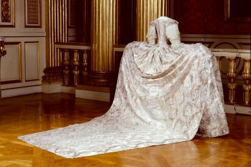 Sofia Magdalena's wedding gown at the Royal Armoury in the Swedish Royal Palace, Stockholm, Sweden