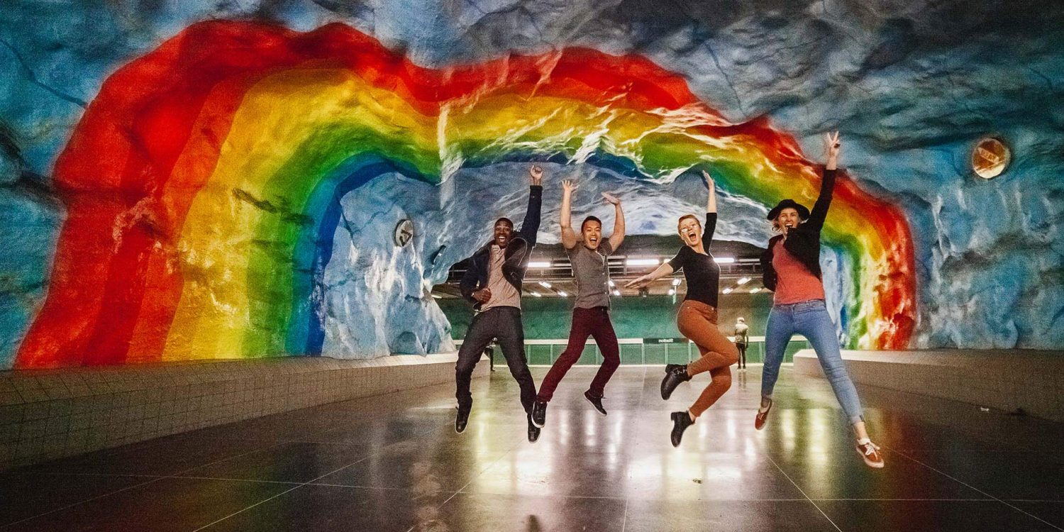 Rainbow art in Stadion Station in Stockholm, Sweden